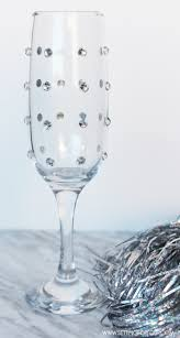 quick and easy diy rhinestone champagne glasses setting for four