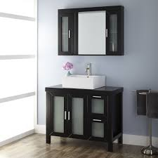 mirrored bathroom vanity with sink bathroom with vessel sink