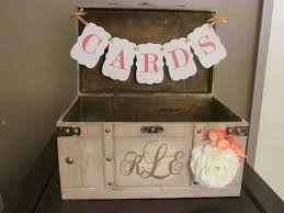 vintage wedding card box with cards banner coral and white rustic