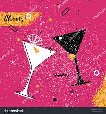 martini glass cheers martini glass gold glitter element on stock vector 517339810