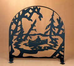 cool arched fireplace screen come with red and gold fabric