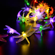 solar powered outdoor string lights dragonfly 6m 19 7ft 30 leds
