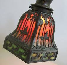Antique Handel Desk Lamp Fine Signed Handel Desk Piano Lamp Sunset Pattern C 1910 Antique