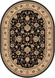 Red Oval Rug Black Traditional Persian Floral Area Rug Red Ivory Bordered