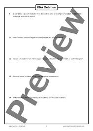 dna mutation u2013 worksheet good science worksheets
