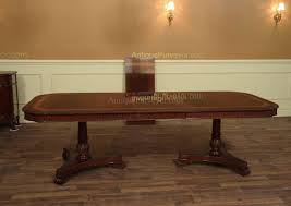 narrow formal mahogany dining table with leaves seats 10 12