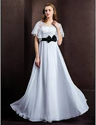 a line v neck floor length chiffon and lace wedding dress