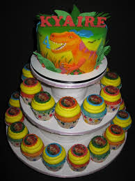 dinosaur cupcakes cake and cupcake tower