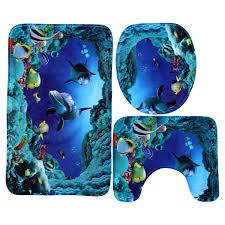 3pcs blue shark bathroom set non slip pedestal rug lid toilet 3pcs blue shark bathroom set non slip pedestal rug lid toilet cover bath mat set walmart com