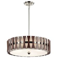 Drum Light Pendant Kichler 43753aub Cirus Modern Auburn Stained Drum Pendant Lighting