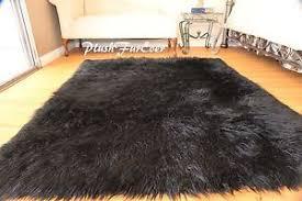 8 x 10 u0027 faux fur rug plush black mongolian large sheepskin