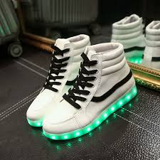 high top light up shoes unisex yeezy fashion led light up shoes for lovers leather led