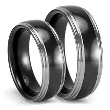 black zirconia rings images Matching grey black zirconium wedding bands wedding set png