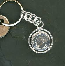 65th anniversary gift 65th birthday gift 1953 dime keychain gift 65th anniversary gift