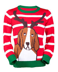 amazon com ugly christmas sweater antler dog sweater by