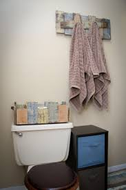 bath towel hooks and toilet paper holder made from up cycled