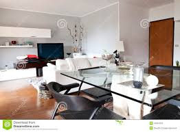 Living Room Glass Tables by Interior Of A Living Room Glass Table And Tv Stock Photos Image