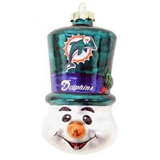 miami dolphins blown glass snowman top hat tree ornament