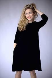 midi dress black casual dress with pockets black a line