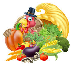 fresh fruits vegetables turkey bird and pilgrim hat on cloudy