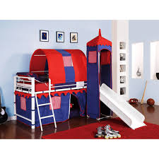 Bunk Bed With Slide And Tent Castle Tent Metal Loft Bed With Slide Bed Storage