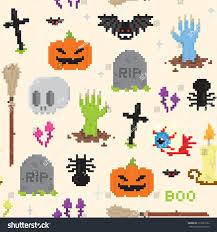 spooky pixel background halloween pixel art seamless vector pattern stock vector 219221023