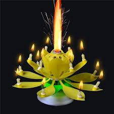 1pcs amazing two layers with 14 small candles lotus happy birthday