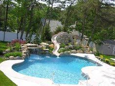 Backyard Swimming Pools by Swimming Pool Slide Diving Board Tub And Waterfall What