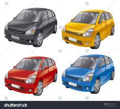 Hutch Back Cars Illustration Mini Hatchback Cars Different Colors Stock Vector