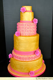 gold u0026 pink wedding cake the hudson cakery