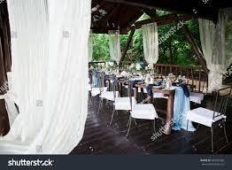 wedding restaurant decor rustic boho style stock photo 437825506