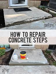 How To Fix Cracks In Concrete Patio How To Fix Chipped Concrete Steps Cement Steps Cement And Concrete