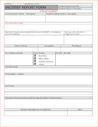 sample of incident report format