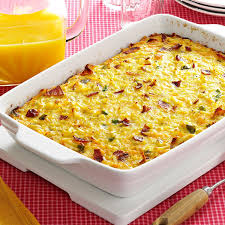 cheesy hash brown egg casserole with bacon recipe taste of home