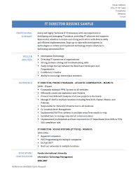 Sample Training Resume by It Director Resume Resume For Your Job Application