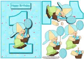 boy 1st birthday card front with decoupage cup94335 56