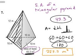 showme surface area of a triangular pyramid 7th grade