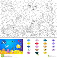 color by number educational game for kids underwater world stock