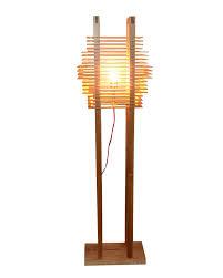 modern style multideck rectangle shade wooden floor lamp