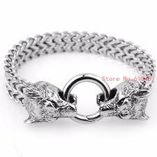 stainless silver bracelet images New design retro wolf head bracelet for men trendy knight vintage jpg