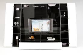 unique black mirrored entertainment center with decorative shelves