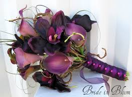 plum wedding plum orchid calla wedding bouquet in bloom