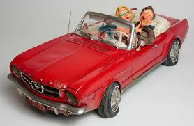 cartoon convertible car guillermo forchino 65 ford mustang convertible comical art figurines