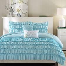 aqua ruffle comforter intelligent design elle 4 or 5 pc comforter set