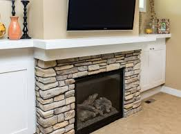 modern built ins on each side of a lennox gas fireplace surrounded