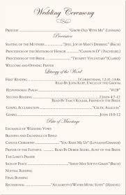 sle of wedding ceremony program wedding programs wording for catholic ceremony finding wedding ideas