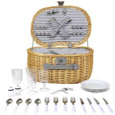 picnic basket set for 4 oval 4 person willow wicker picnic basket set charles bentley