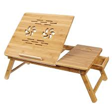 mics bamboo laptop desk serving bed tray tilting top ulld001 ca home kitchen