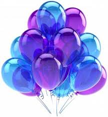 balloons party birthday blue purple translucent decoration of