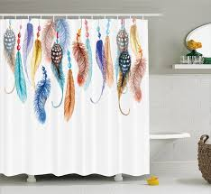Western Fabric For Curtains Feather House Decor Shower Curtain Primitive Hippie With South